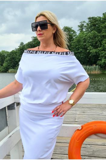 Biała dresowa Plus SIze bluzka do kompletu Y-18 nietuzinkowa