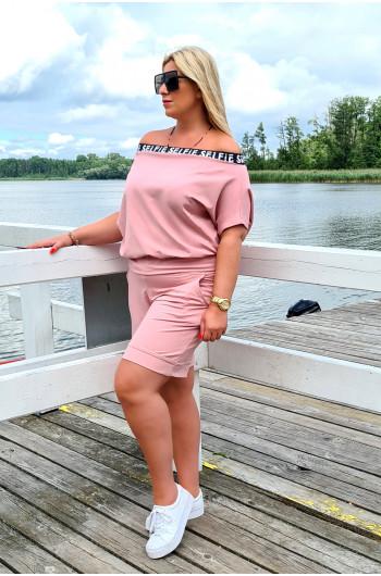 Y-18 dresowa luźna bluzka Plus Size w kolorze brudnego różu