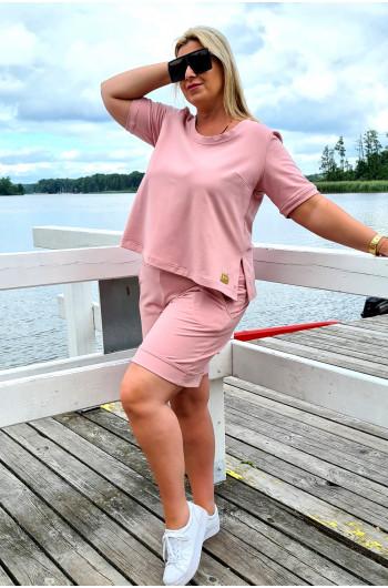 Cudowna bluzka Plus Size w kolorze brudnego różu Y-19 do kompletu