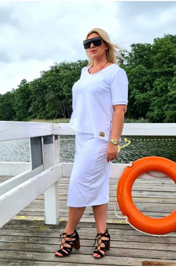Rozkloszowana bluzka Plus Size do kompletu biała Y-19