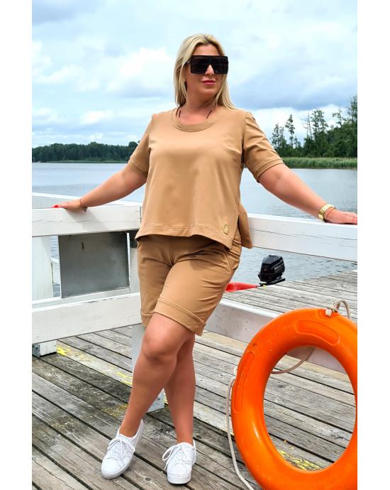 Dresowa bluzka Plus Size Y-19 camelowa do kompletu