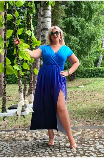 Wspaniała kobieca maxi sukienka  Ombre M-45 Plus Size