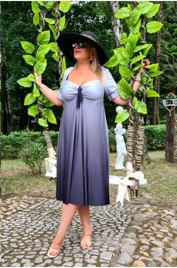 Zachwycająca sukienka OMBRE M-35 odcienie szarości