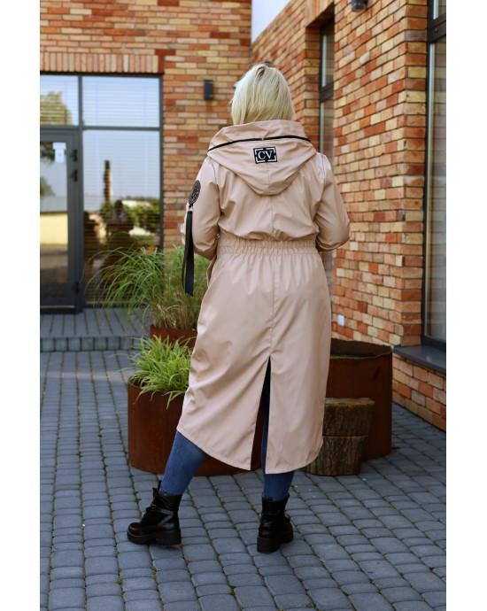 Pv-3 Maxi trencz beżowy jesienny płaszcz najmodniejszy