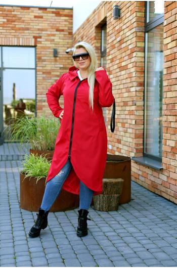 Jesienny płaszcz maxi Pv-3 czerwony idealny