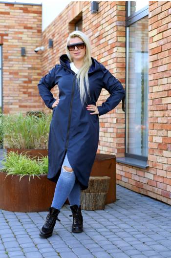 Granatowy płaszcz kobiecy Pv-3 maxi
