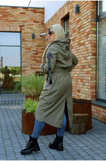 Wyjątkowy kobiecy płaszcz w kolorze khaki Pv-3 maxi