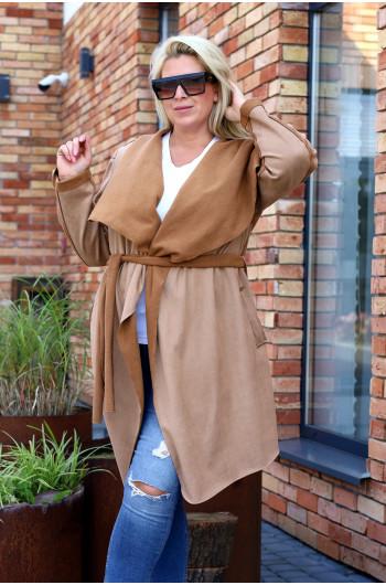 Jesienny płaszcz zamszowy Pk-02 midi camel