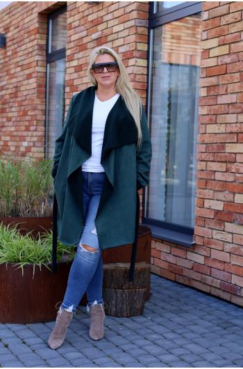 Cudowny płaszcz Pk-02 w kolorze butelkowej zieleni