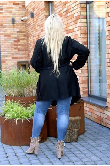 Kapitalny płaszcz jesienny Pk-02 zamszowy w wersji midi