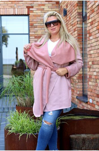 Pk-02 płaszcz midi w odcieniach różu, przeuroczy