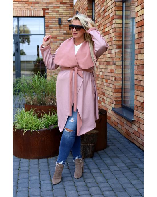 Uroczy płaszcz w kolorze różu Pk-02 maxi