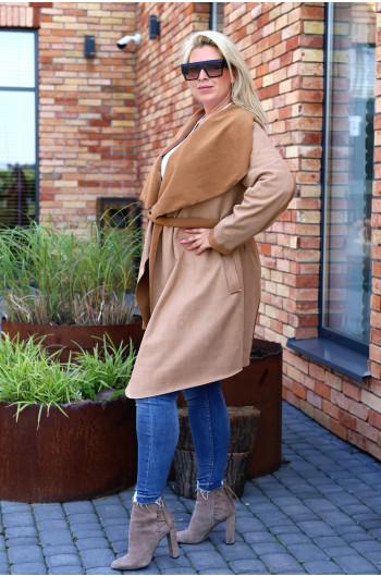 Camelowy najmodniejszy płaszcz z kożuchem Pk-02