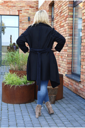 Klasyczny płaszcz jesienny, zamszowy Pk-02 maxi