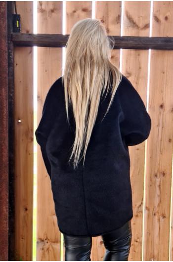 Płaszcz damski z alpaki A-01 w kolorze czarnym