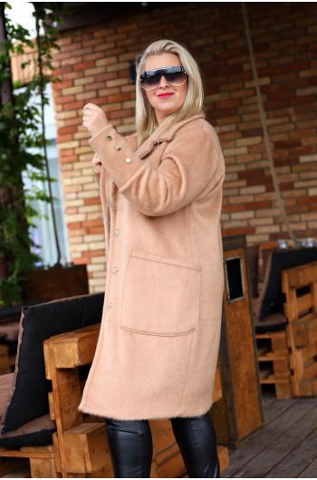 Idealny płaszcz mega ciepły i elegancki alla alpaka camel