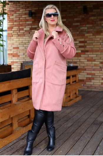 Wspaniały i klasyczny płaszcz w kolorze brudnego różu Pa-01
