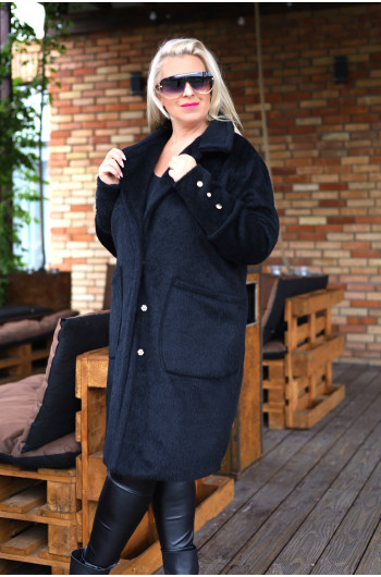 Klasyczny i uroczy czarny płaszcz z alpaki Pa-01