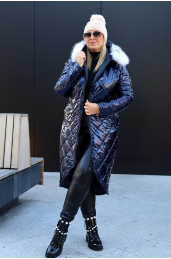 Wspaniała i kobieca zimowa kurtka Kz-01 w kolorze granatu