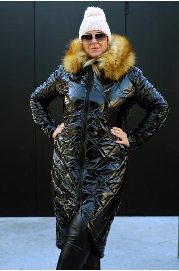 Kz-01 długa ciepła zimowa kurtka w kolorze czarnym