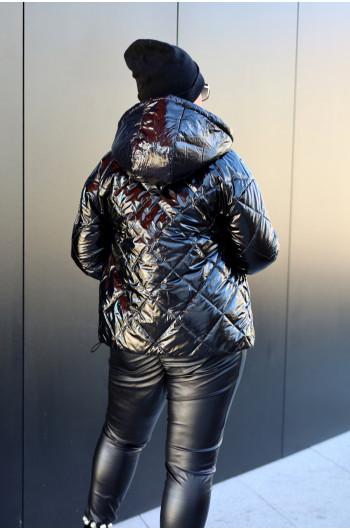 Klasyczna kurtka z kapturem lakierowana Kz-15 czarna