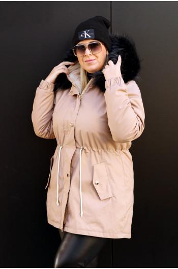Beżowa najmodniejsza parka zimowa KP-01 z futrem