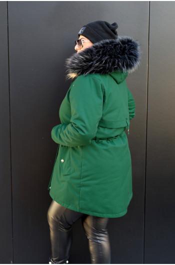 KP-01 Kurtka parka w kolorze butelkowej zieleni