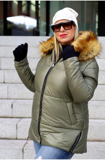 Kzp-20 idealna kurtka khaki z ozdobnymi zamkami