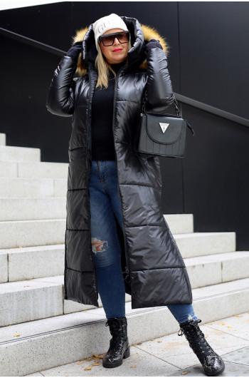 Kzp-10 czarna długa kurtka, płaszcz idealna