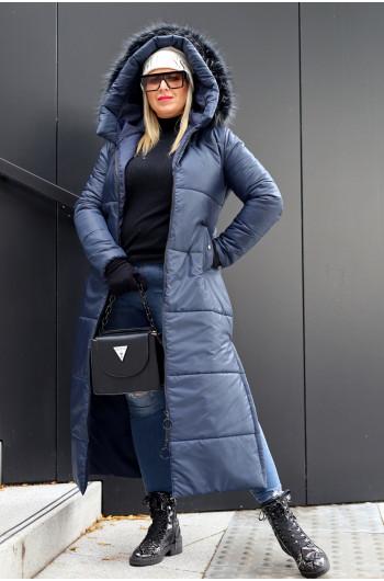 Cudowny płaszcz zimowy w kolorze granatu Kzp-10