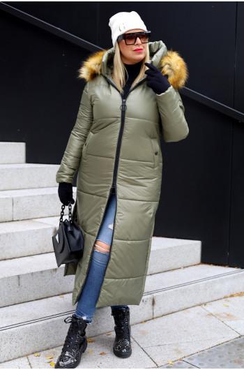 Zimowy płaszcz w kolorze khaki Kzp-10 idealny