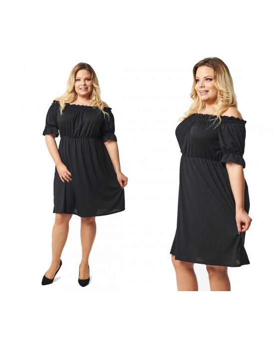 Czarna sukienka boho w modnych i dużych rozmiarach S-34