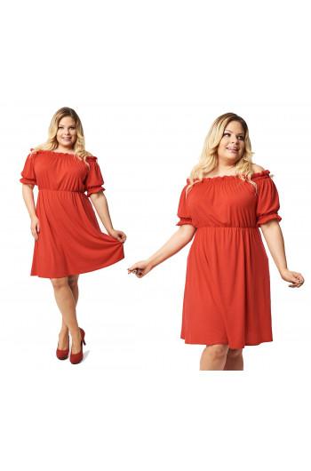 Czerwona PLUS SIZE sukienka boho S-34