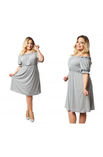 Sukienka boho jasnoszara Plus Size S-34