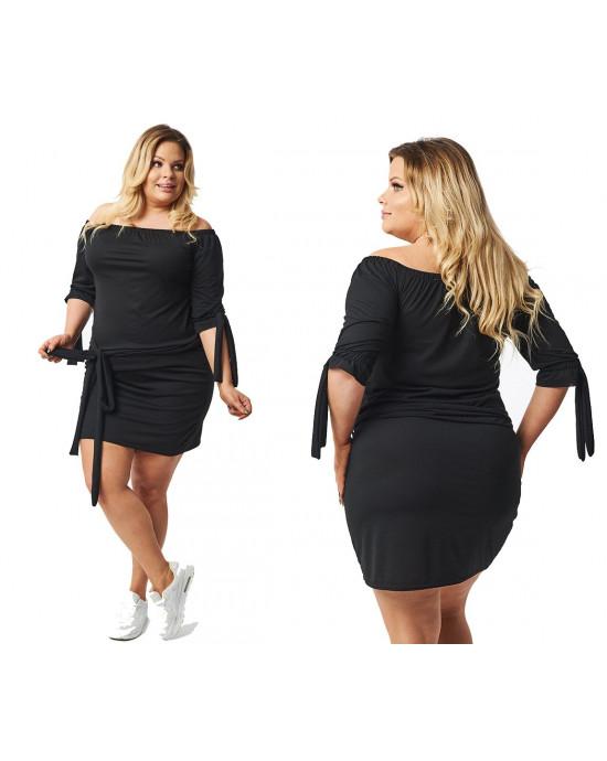 Klasyczna czarna sukienka tunika Plus Size S-37