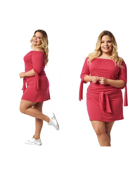 Zmysłowa ciemno różowa sukienka tunia S-37