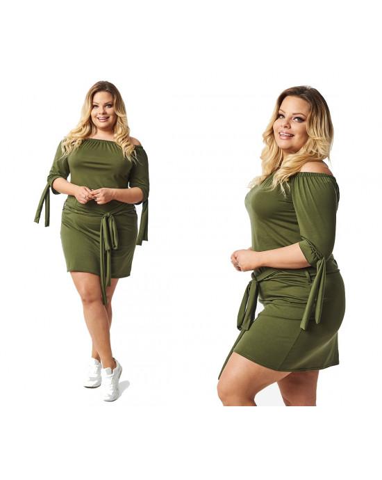 Sukienka Plus Size zielona tunia S-37