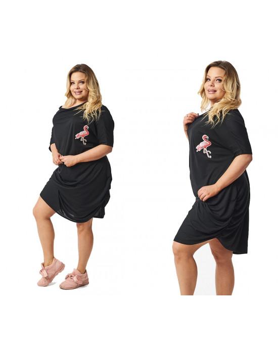 Czarna sukienka XXL z flamingem S-39