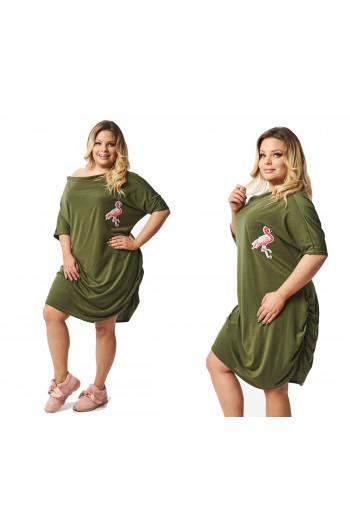 Zwiewna Sukienka zielona flaming S-39