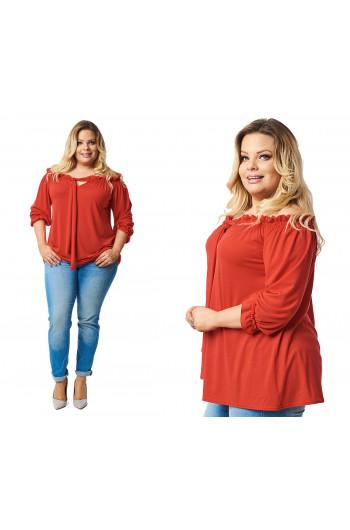 Czerwona bluzka boho modne i duże rozmiary B-16