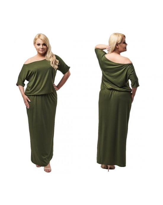 Sukienka maxi z rozięciem PLUS SIZE S-18