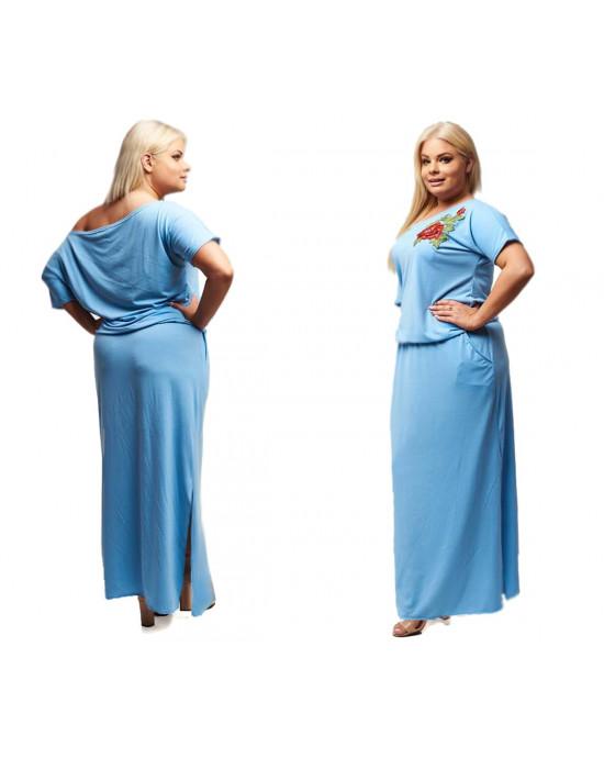 Błękitna/niebieska sukienka z super haftem S-18