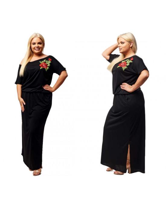 Czarna sukienka z haftem S-18 - Moda Plus Size