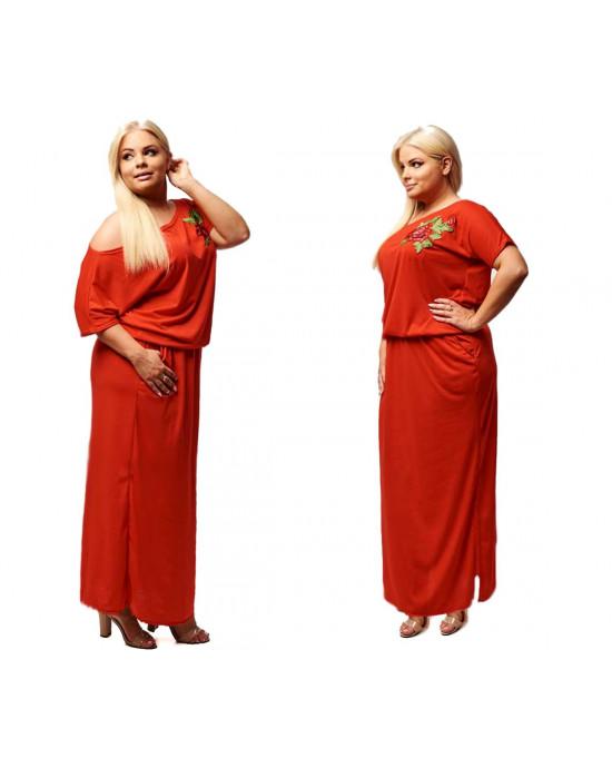 Czerwona sukienka Plus Size z haftem S-18