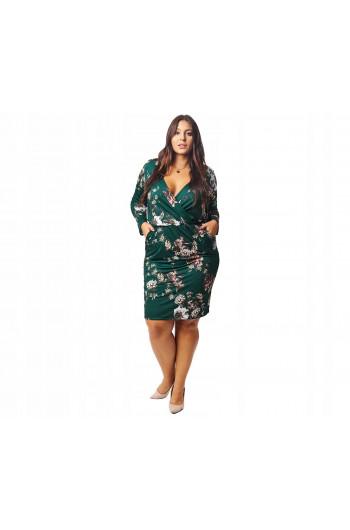 Zielona sukienka midi w kwiaty Plus Size SKD-21