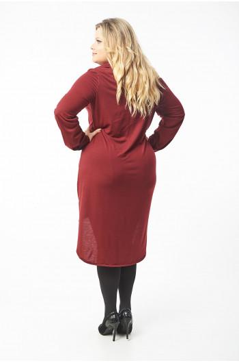 Bordowa suknia koszula Plus Size S-60