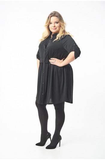 Czarna sukienka-tunika podpinany rękawek ZARKA S-62