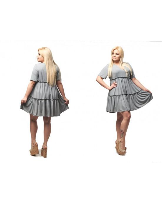 Piekna trapezowa sukienka z falbanami PLUS SIZE S-11