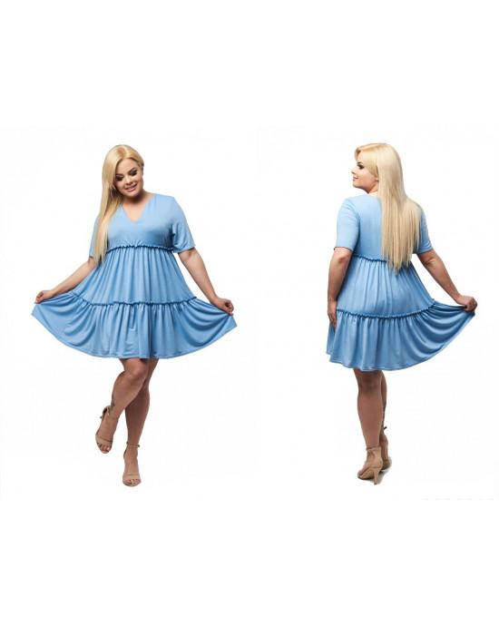 Błękitna trapezowa sexi sukienka PLUS SIZE S-11