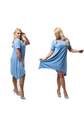 Błękitna sukienka trapezowa PLUS SIZE S-16